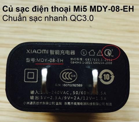 CỦ SẠC NHANH MI5 XIAOMI MDY-03-EH | (Tạm hết hàng)
